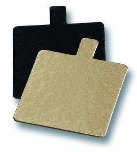 Desszert alátét, arany/fekete, négyzet, füles