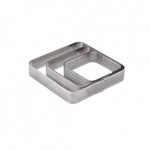Desszertgyűrű / Tart gyűrű, négyzet, lyukacsos