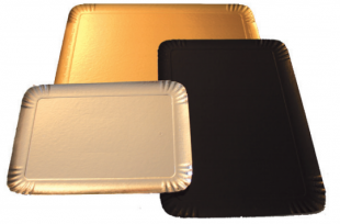 Kartontálca, arany/fekete, szögletes