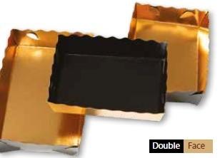 Karton tálca arany/fekete, szögletes, felhajtható oldal