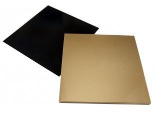 Torta alátét, arany/fekete, négyzet, fül nélkül